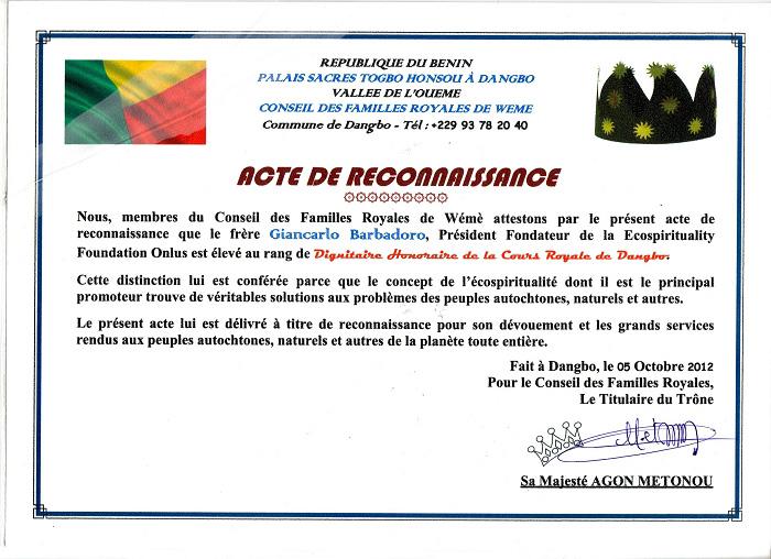 Giancarlo Barbadoro Dignitaire Cours Royale Dangbo Benin